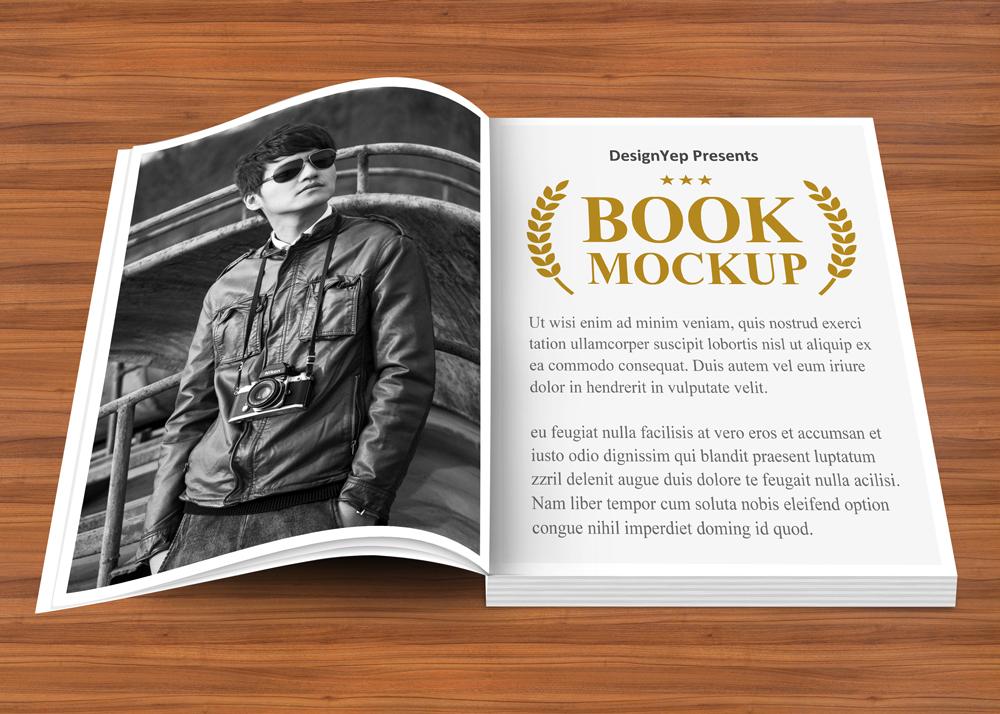 open book design psd mockup