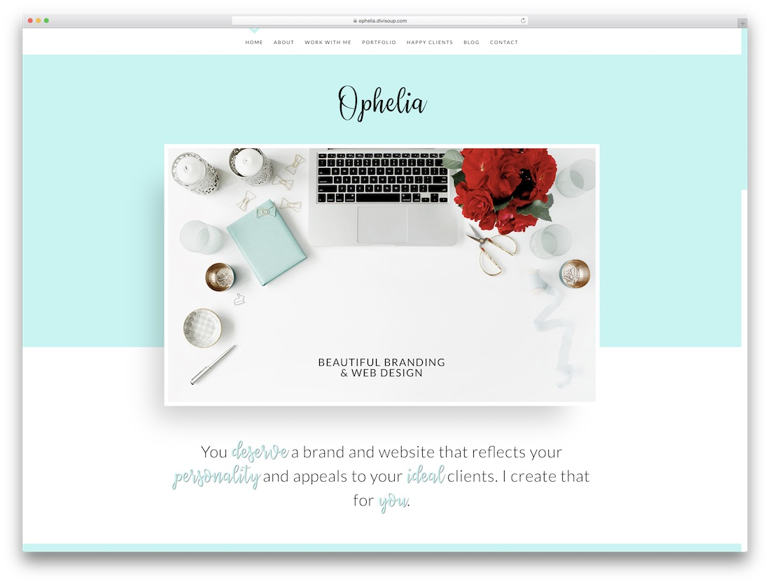 ophelia responsive divi child theme
