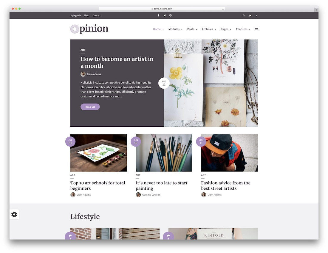 opinion colorful wordpress theme