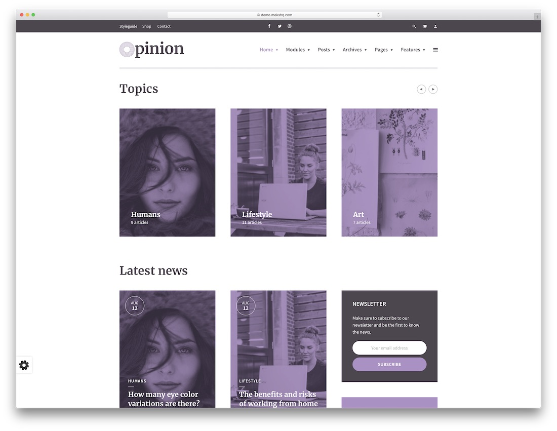 opinion feminine wordpress theme