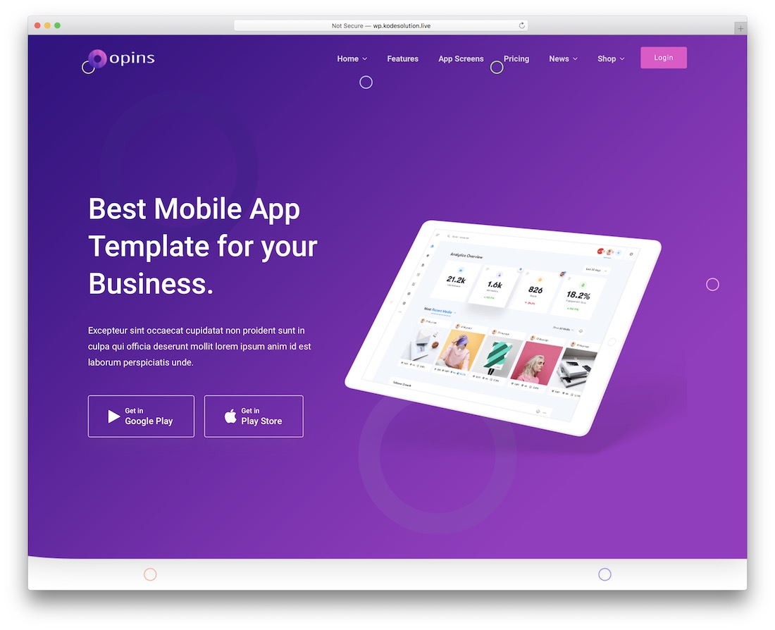 opins landing page wordpress theme