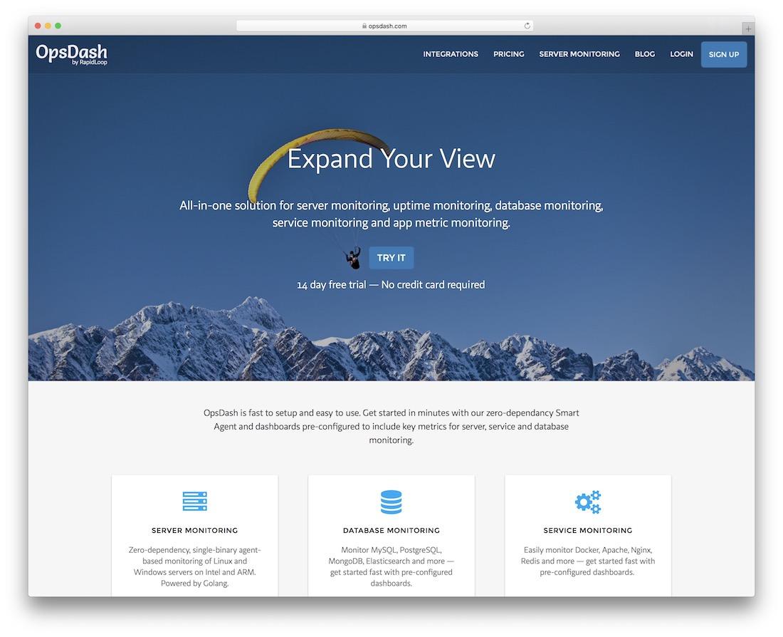 opsdash server uptime database app monitoring