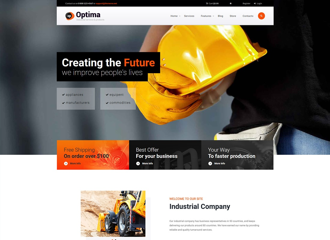 Optima | Industrial Site Template