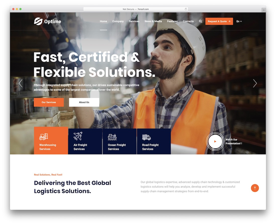 optime-transportation logistics wordpress theme