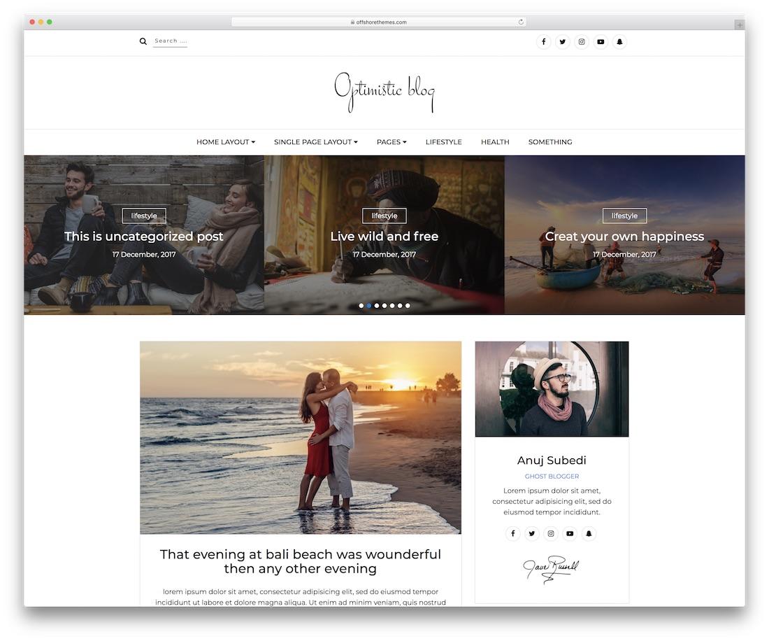 optimistic blog website template