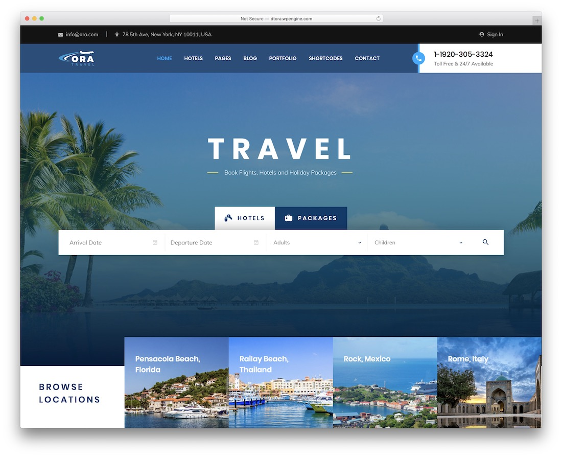 ora travel agency wordpress theme