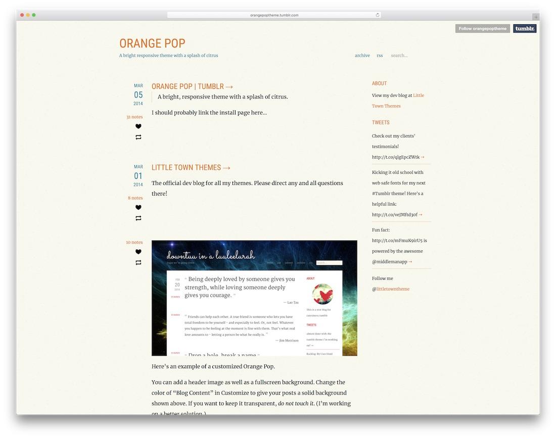 orange pop free tumblr theme