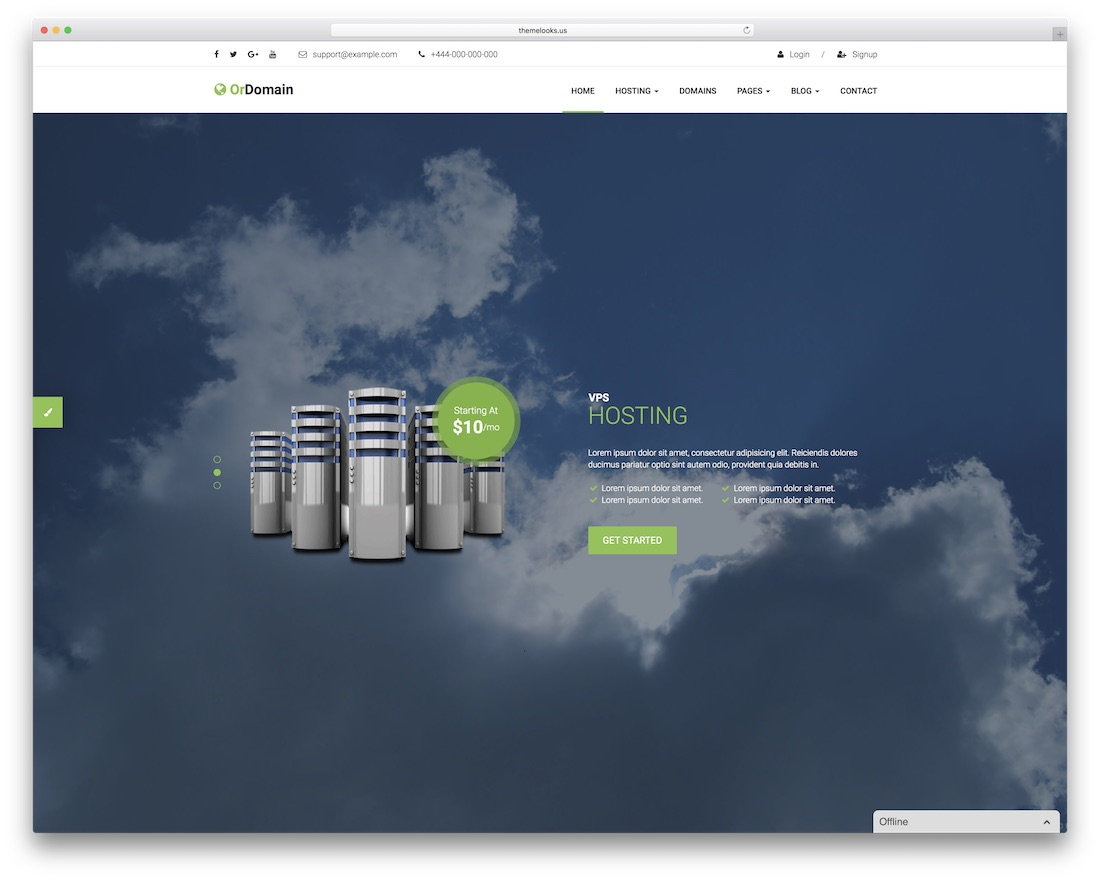 ordomain HTML web hosting website template