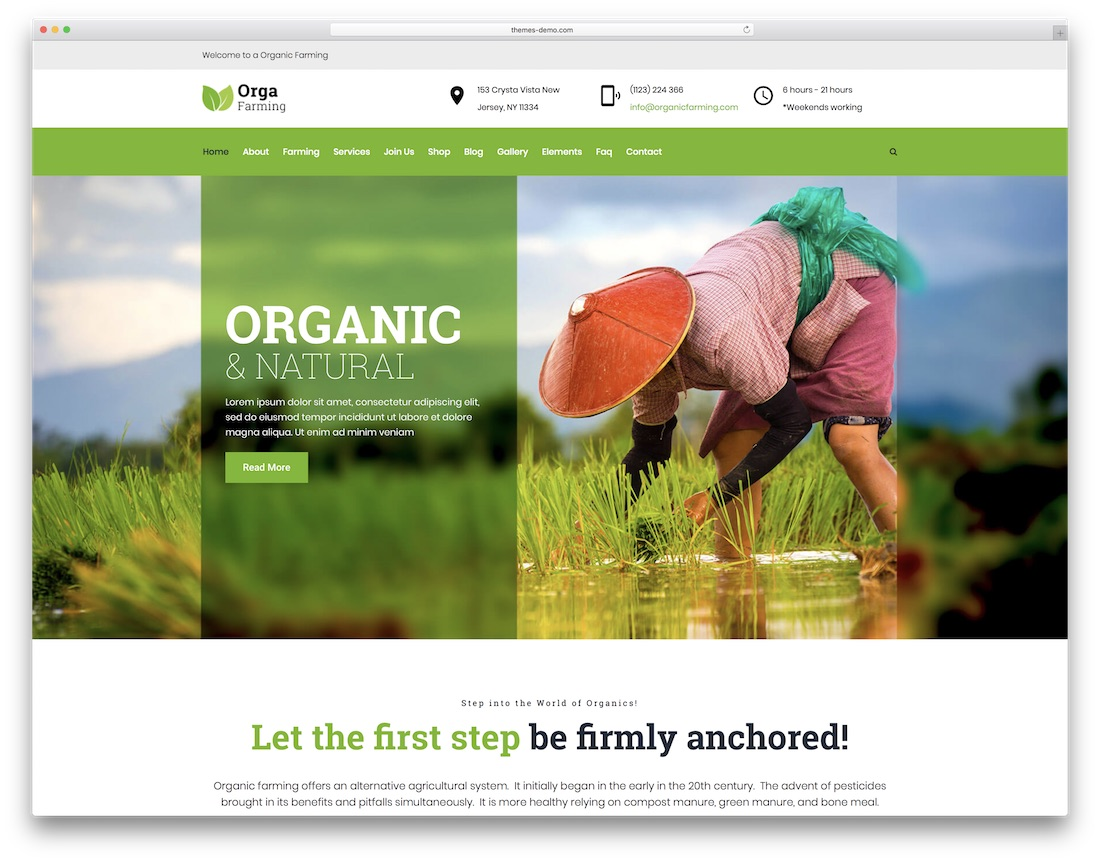 orga farm farming wordpress theme