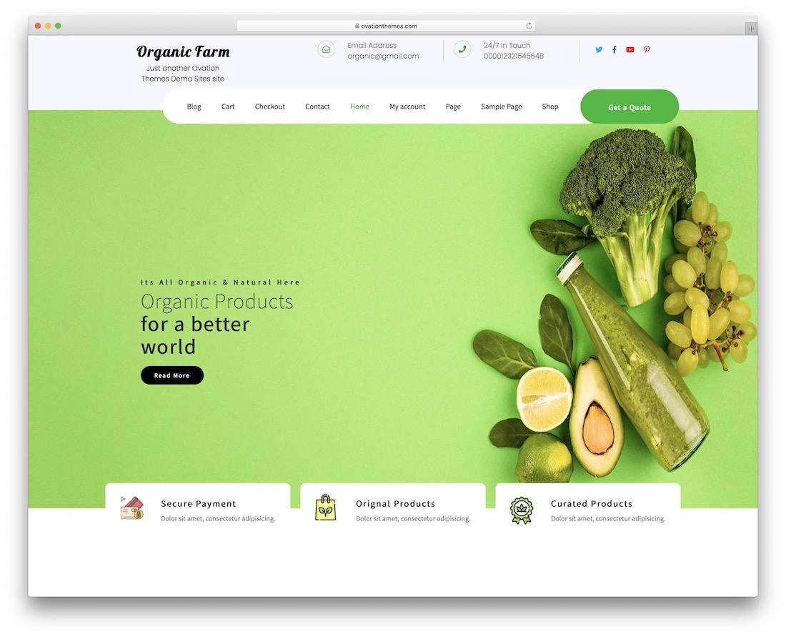 organic farm free bootstrap wordpress theme
