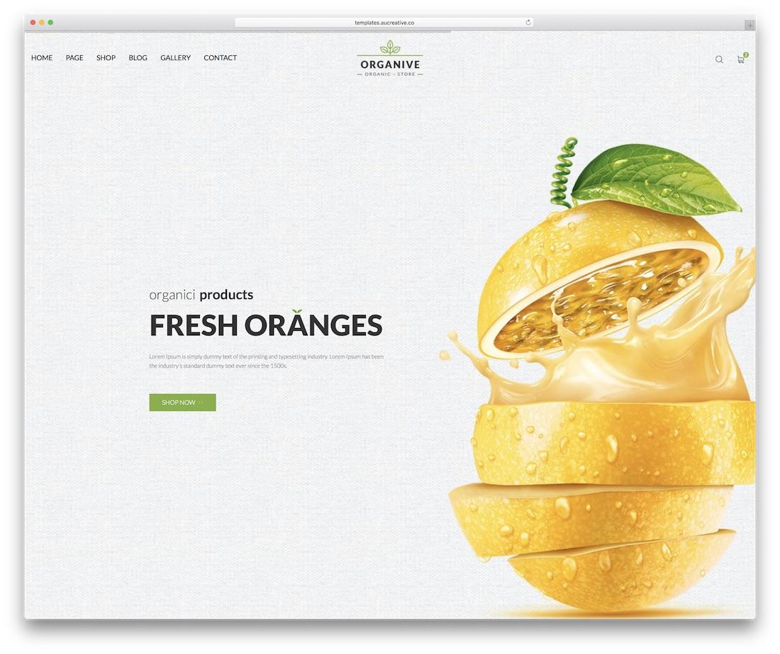 organive food website template