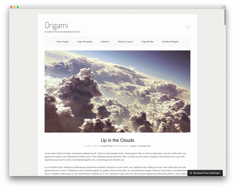 origami - photography website