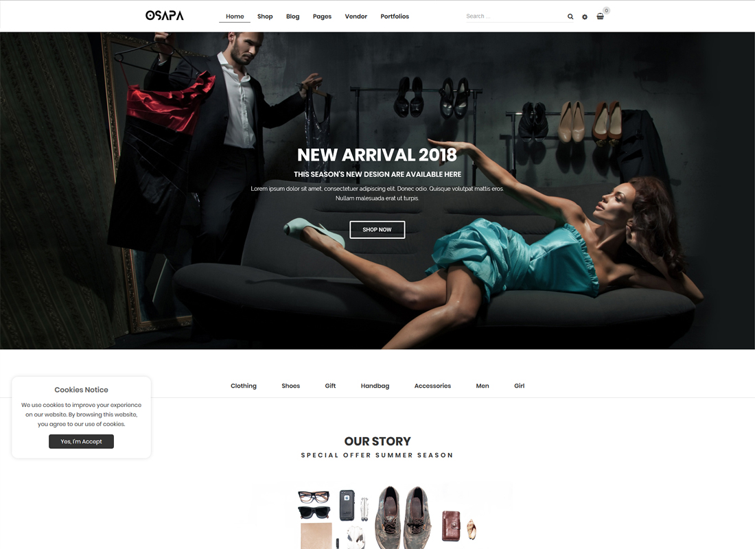 Osapa - Clean Minimalist Fashion and Lifestyle WooCommerce WordPress Theme