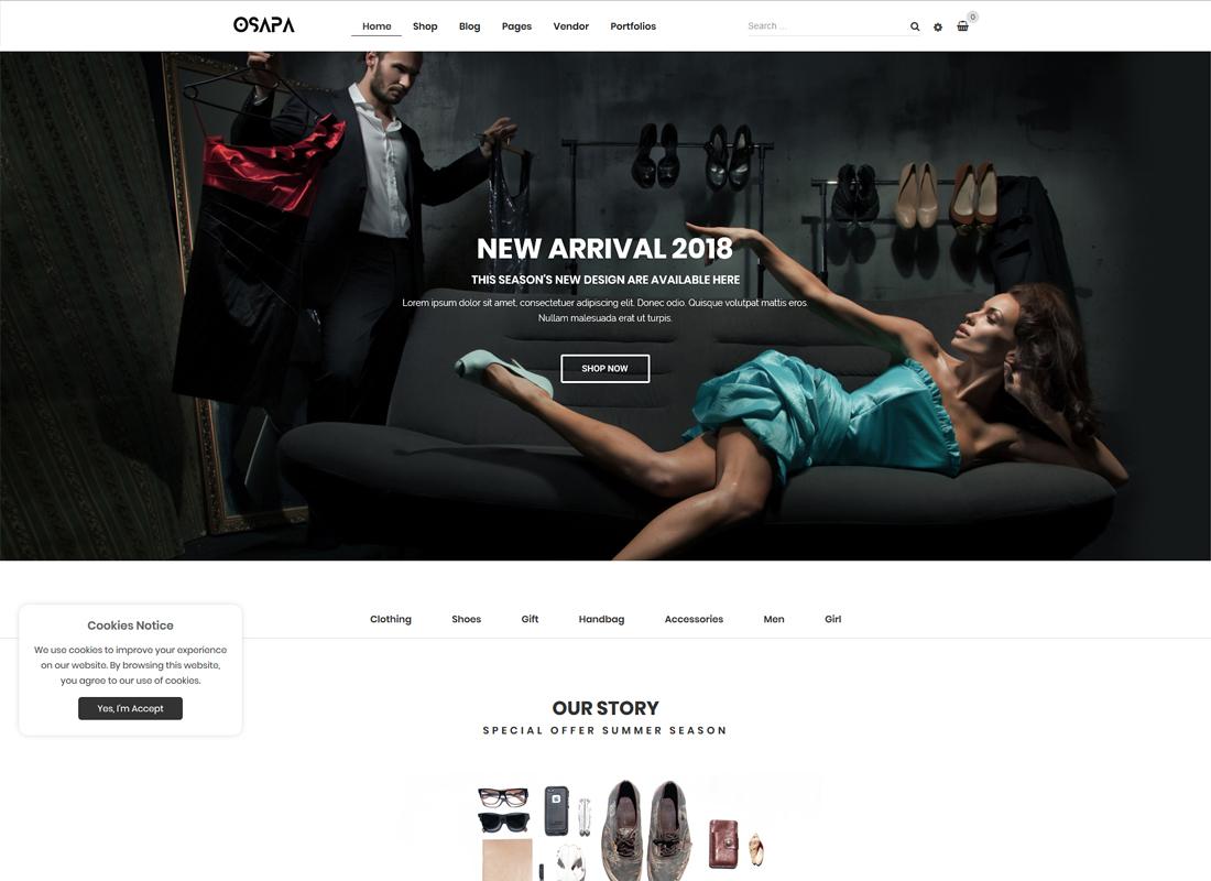 Osapa - Clean Minimalist Fashion and Lifestyle WooCommerce WordPress Theme