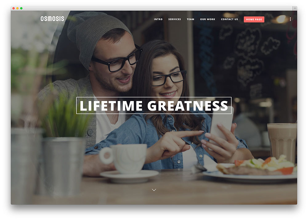 osmosis - one page parallax scrolling