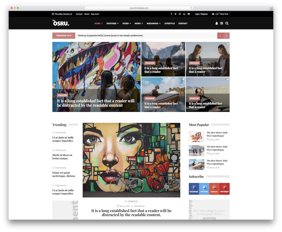 osru news website template