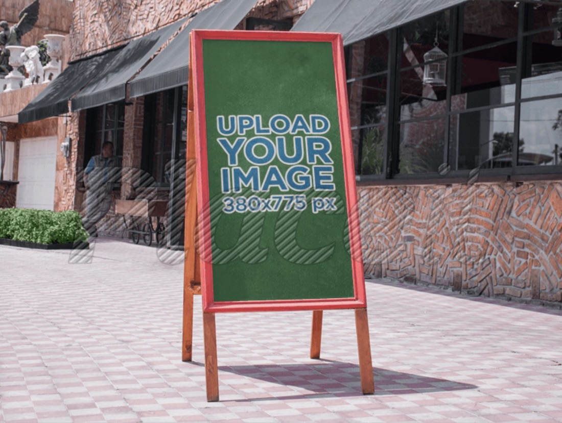 outdoor restaurant sign mockup