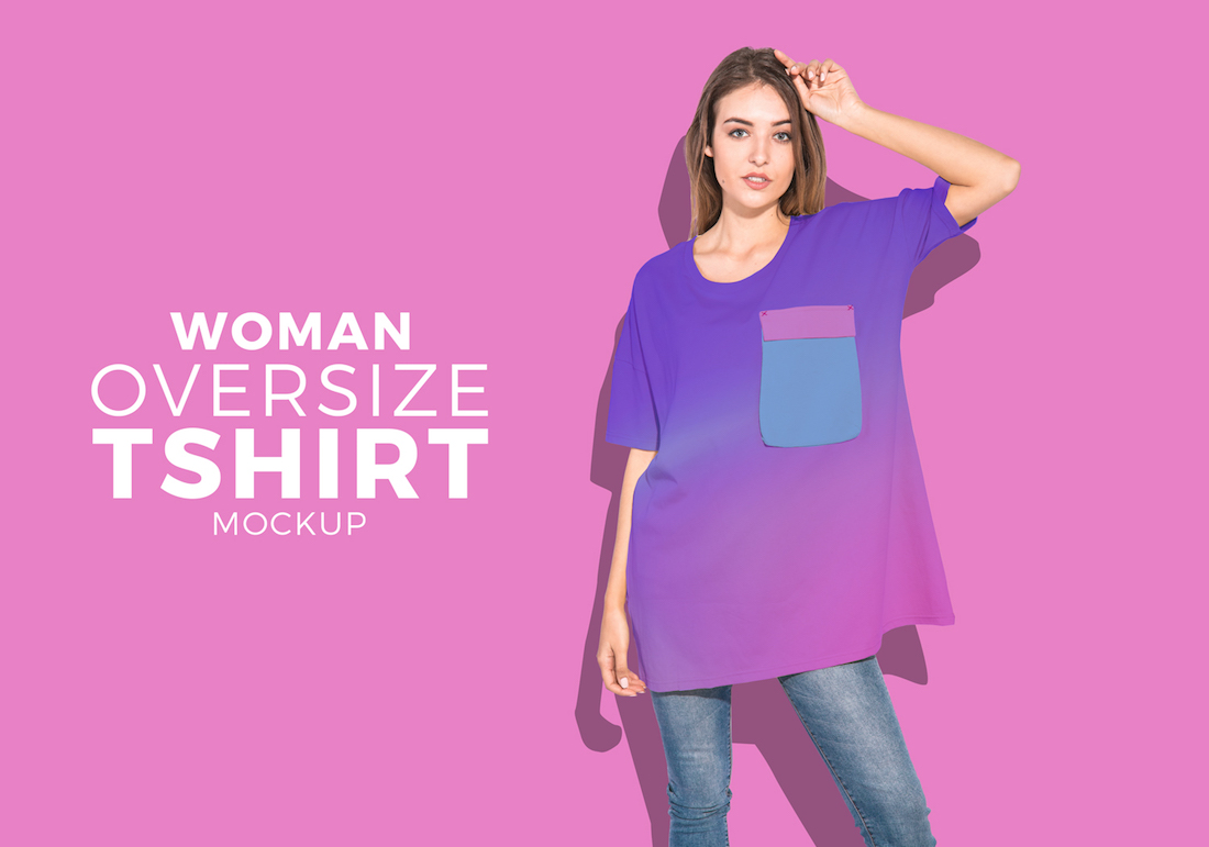 oversize women t-shirt psd mockup