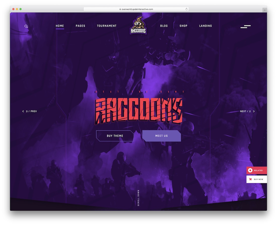 overworld esports website template