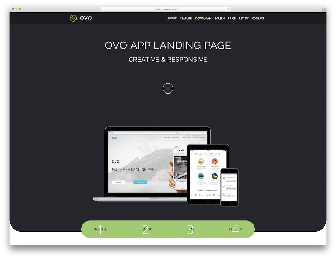 ovo adobe muse landing page template