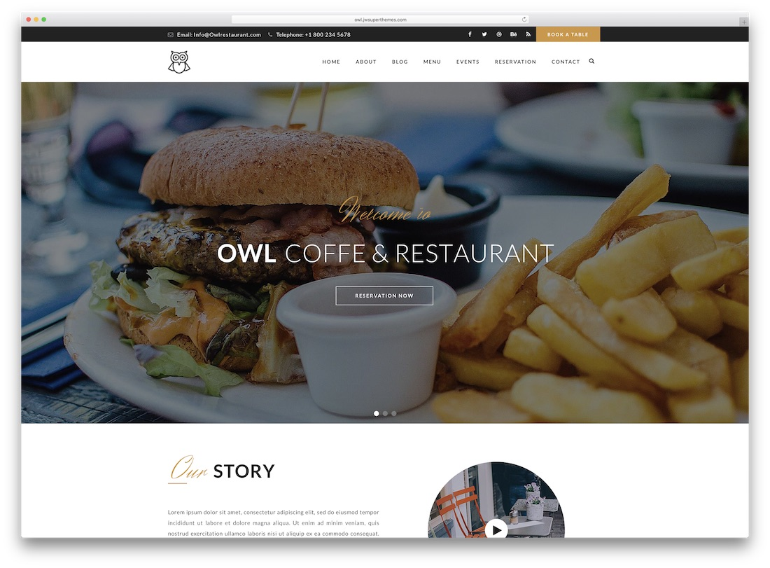 owl catering wordpress theme