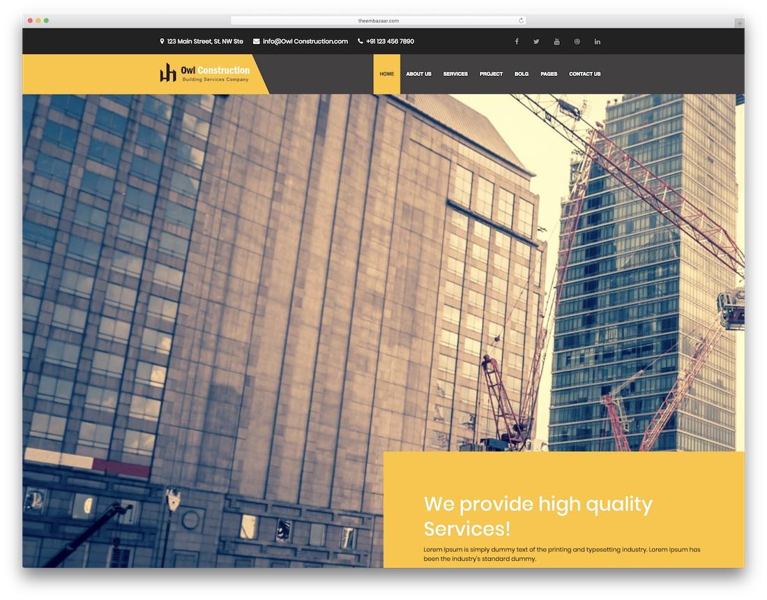 owl construction interior design website template
