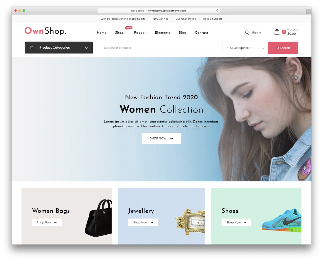 own shop free woocommerce wordpress theme
