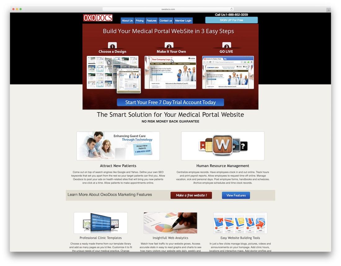oxodocs medical website builder