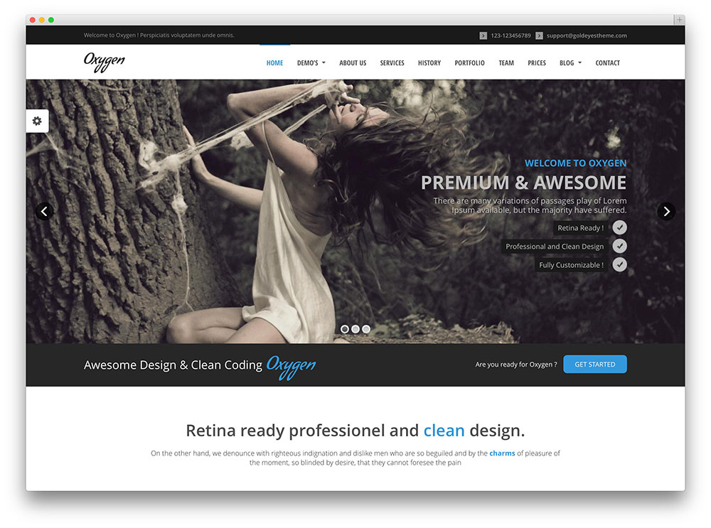 oxygen one page earthy parallax theme