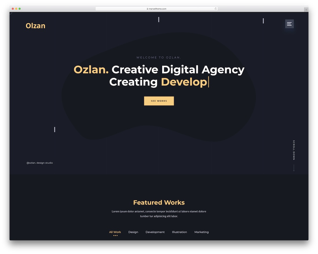 ozlan one page wordpress theme