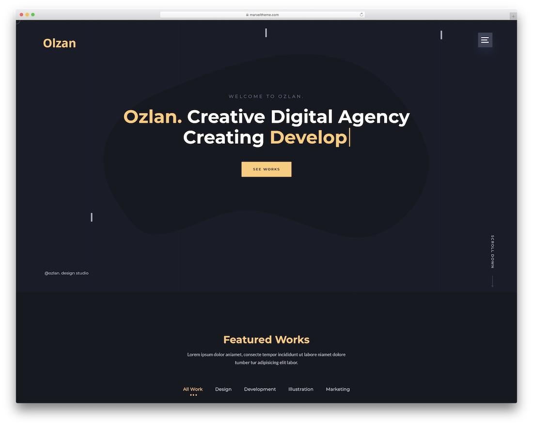 ozlan one page wordpress theme