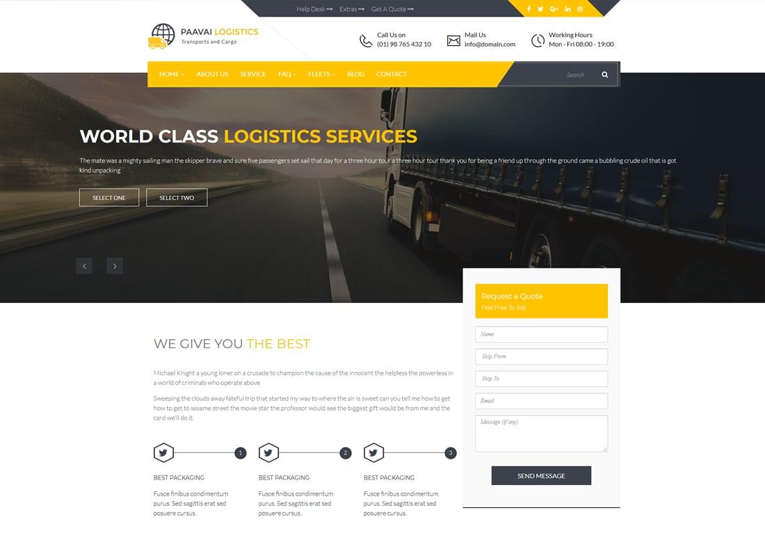 Paavai Logistics | Transport and Cargo WordPress Theme