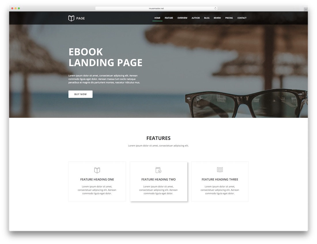 page adobe muse landing template