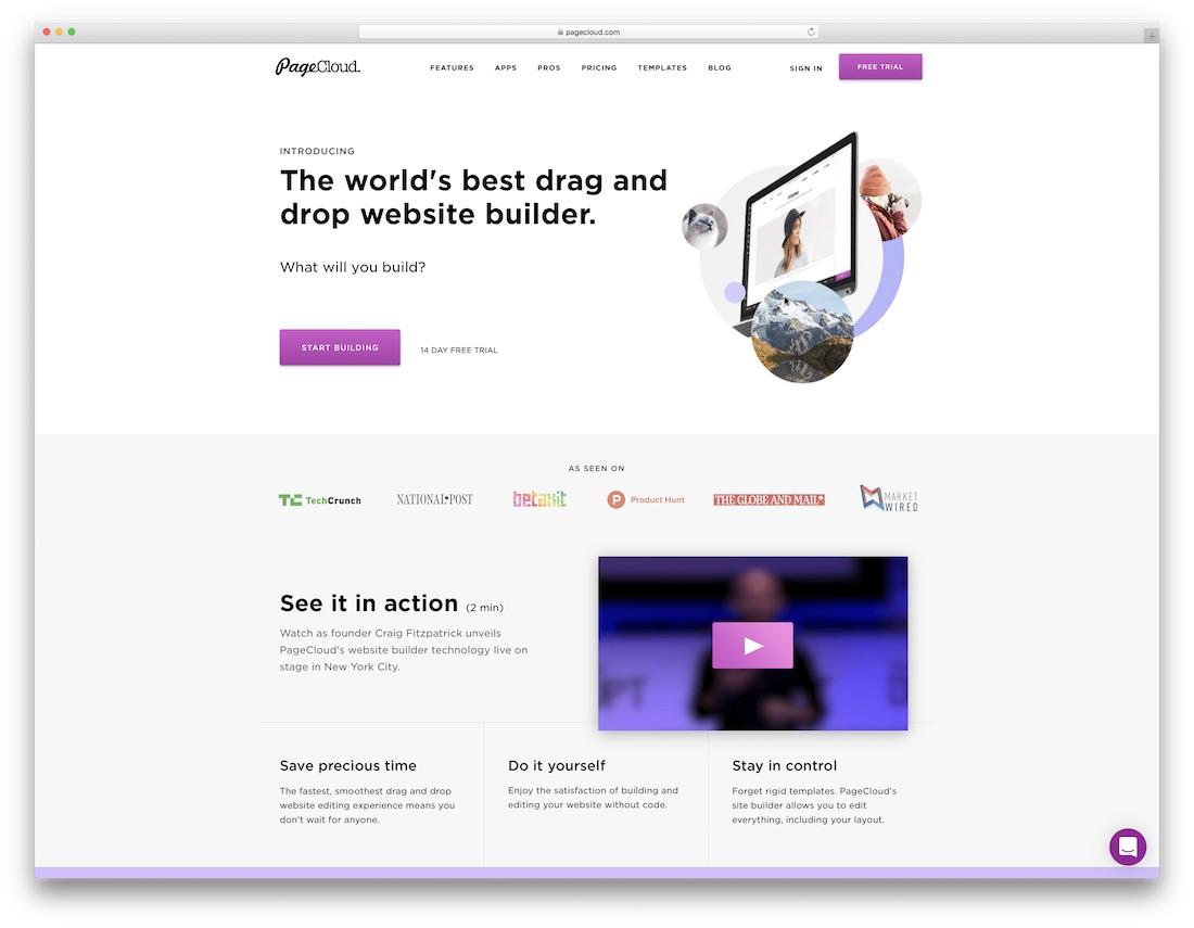 pagecloud website builder for fitness studio