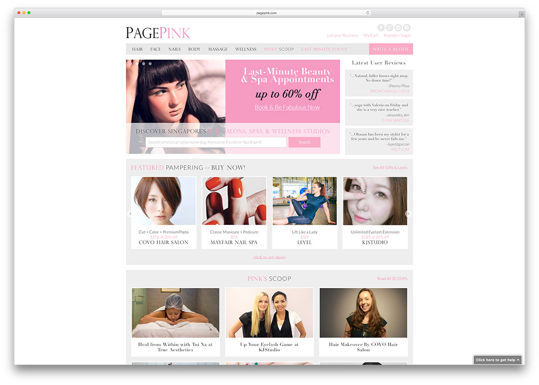 pagepink-spa-salon-woocommerce-website-example