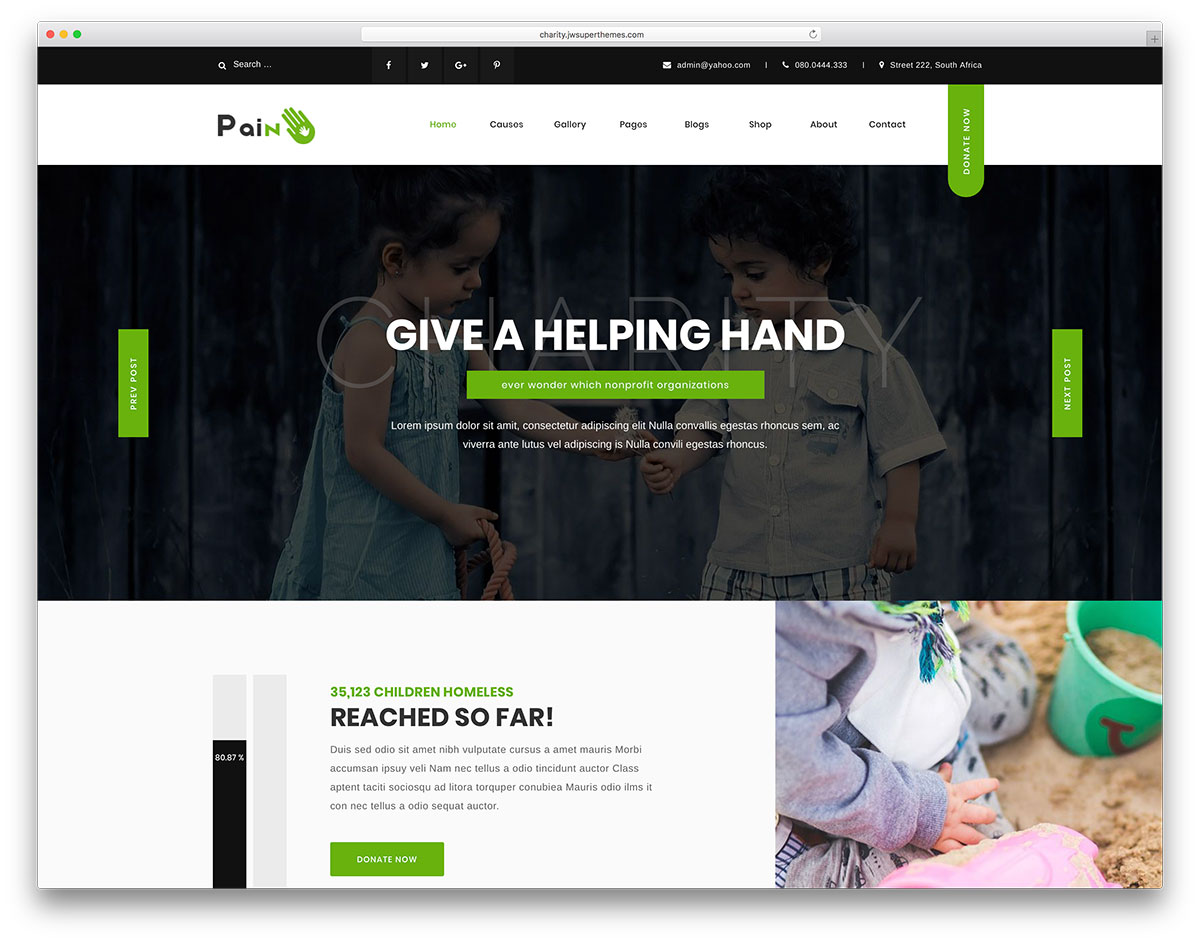 31 best wordpress themes for non profit charity organizations 2018 pain charityfundraising and creative designs are two concepts that dont usually mix but with pain wordpress theme this is exactly what your get maxwellsz