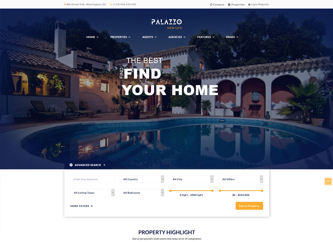 Palazzo | Real Estate WordPress Theme