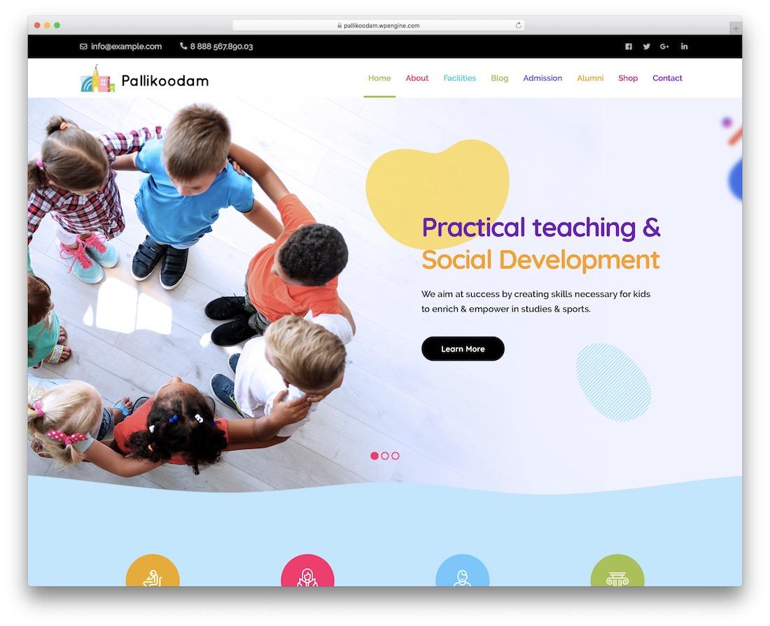 pallikoodam school website template