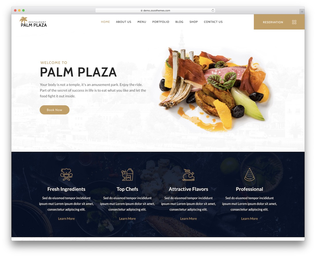 palmplaza catering wordpress theme