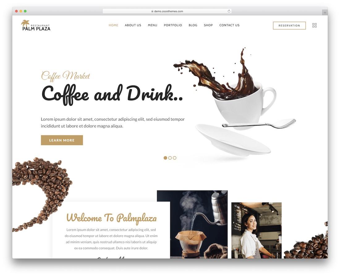 palmplaza coffee shop wordpress theme