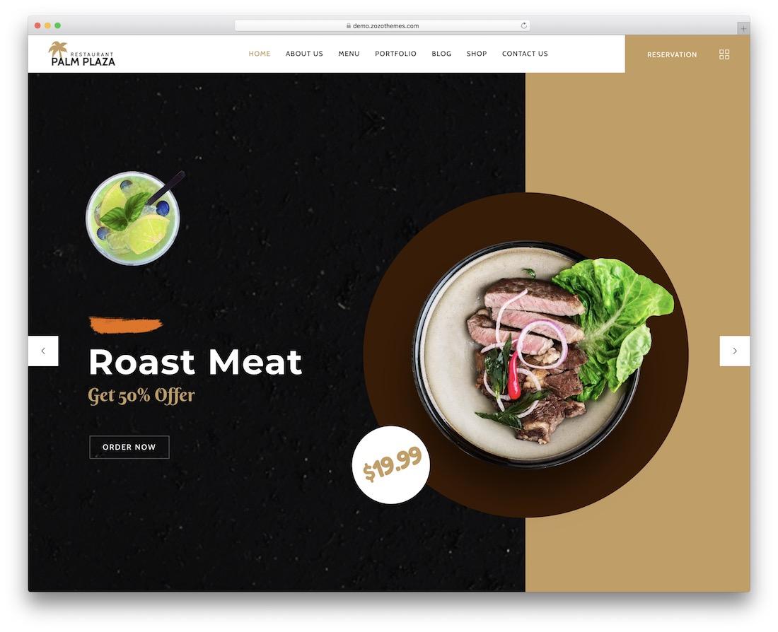 palmplaza food recipes wordpress theme