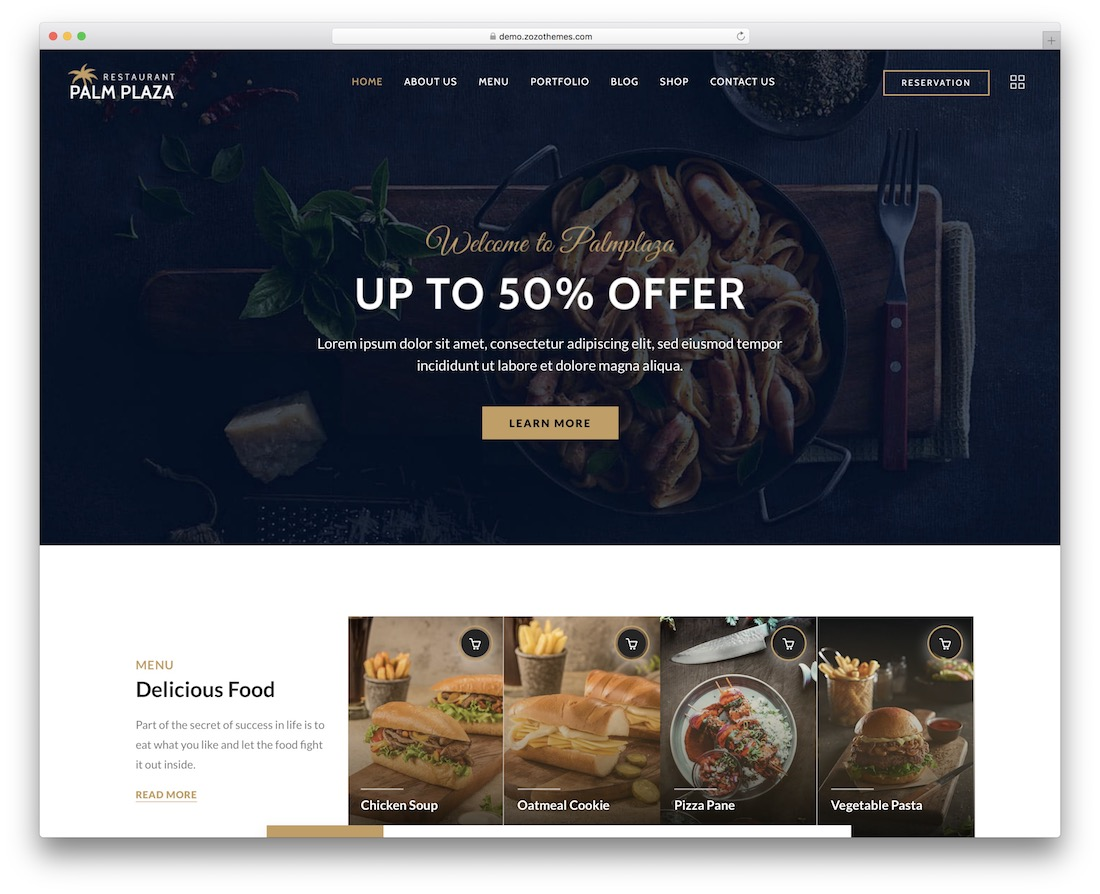 palmplaza food truck wordpress theme