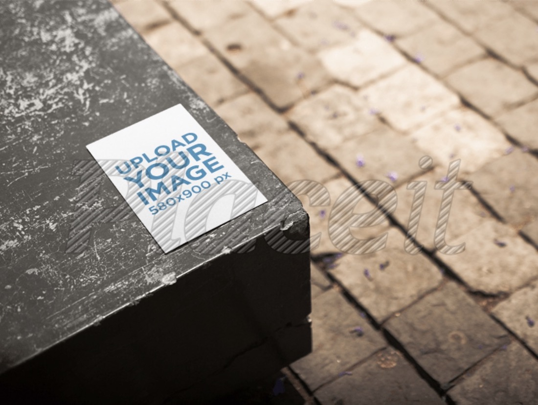 pamphlet mockup on a bench