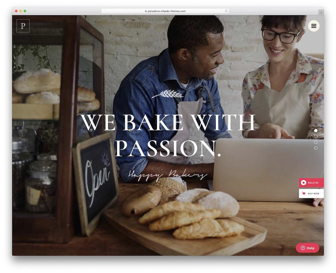 panaderia cake shops wordpress theme