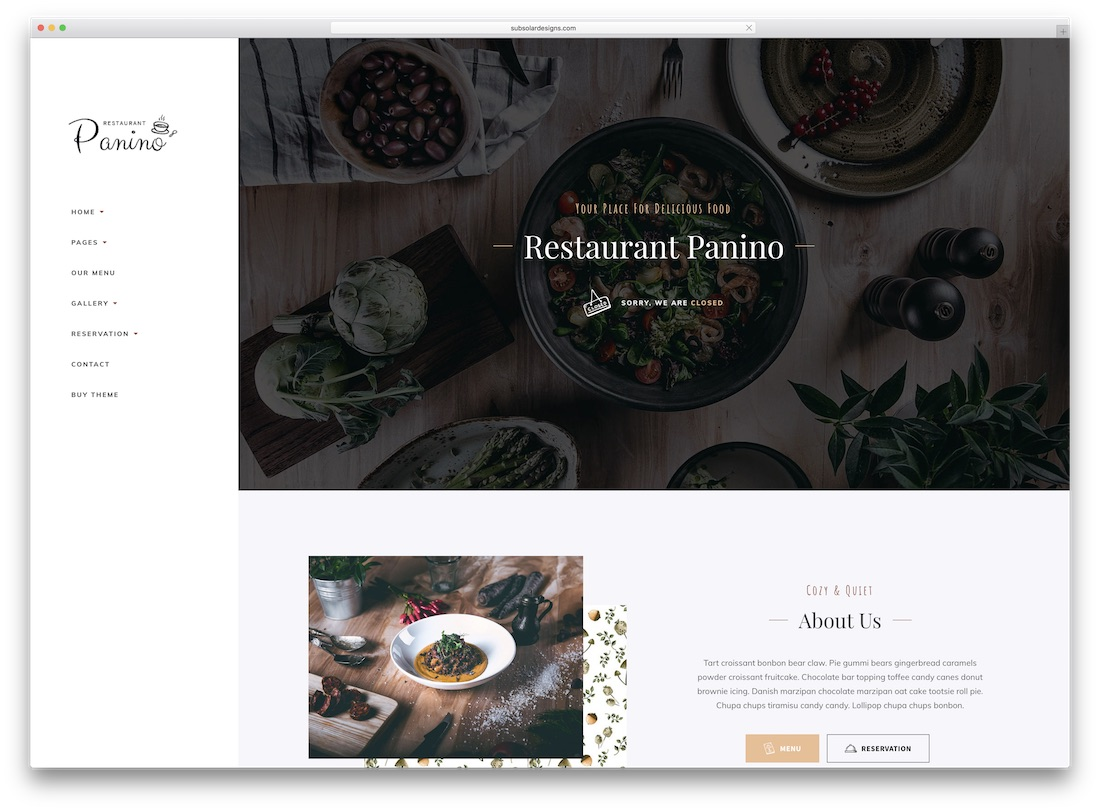 panino catering wordpress theme