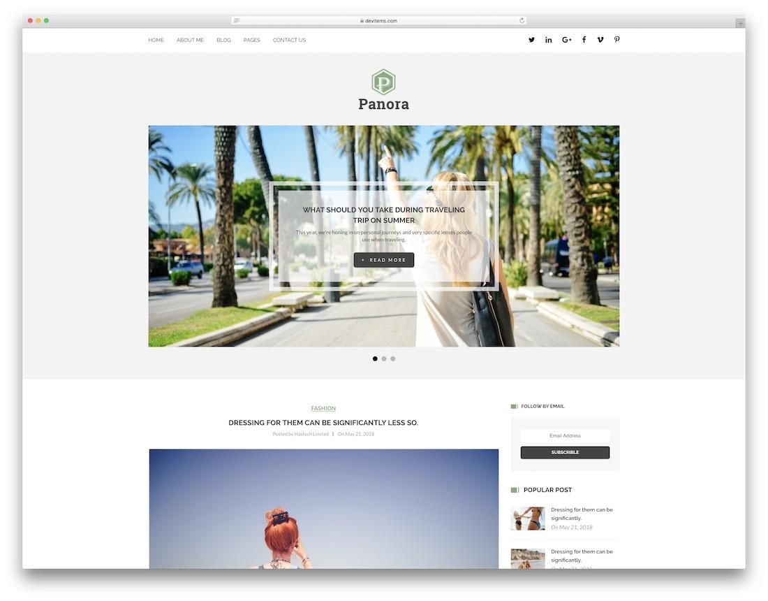 panora writer website template