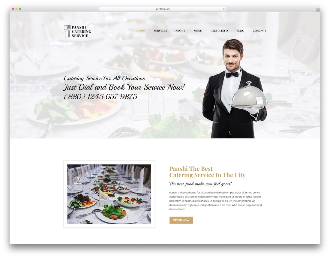 panshi catering website template