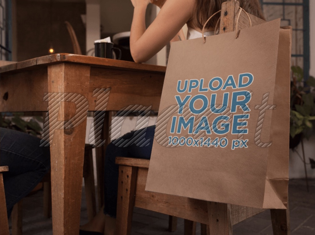 paper bag template hanging from a wooden chair