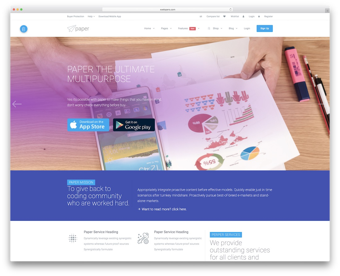 paper bootstrap business website template