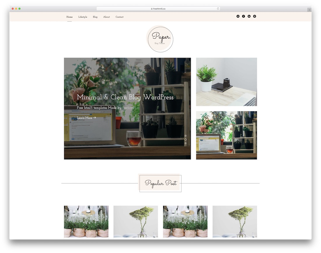 paper free html5 website template